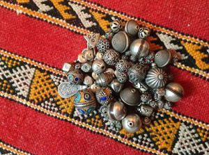 Antique Moroccon Coin and Glass Assemblage Necklace